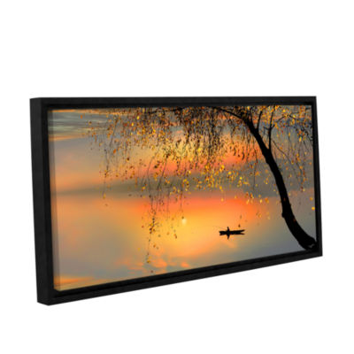Brushtone Fishing Sunset Gallery Wrapped Floater-Framed Canvas Wall Art