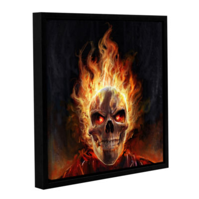 Brushtone Flaming Skull Gallery Wrapped Floater-Framed Canvas Wall Art