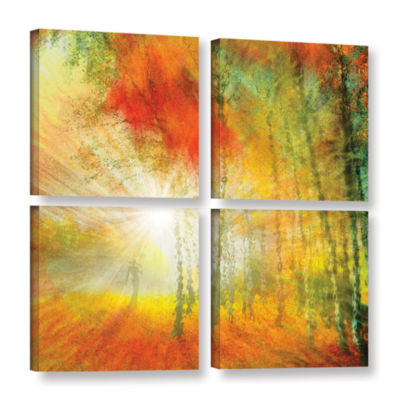 Brushstone Autumn Colours 4-pc. Gallery Wrapped Canvas Square
