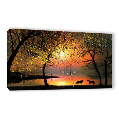 Brushstone At The Sunset Gallery Wrapped Canvas Wall Art