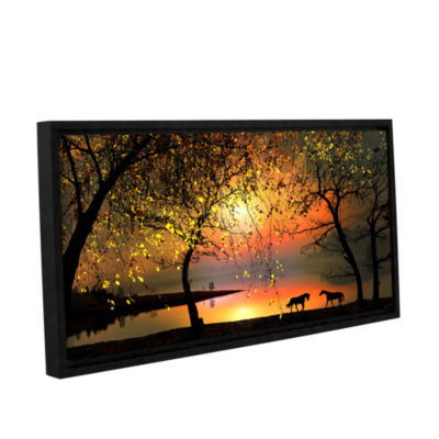 Brushstone At The Sunset Gallery Wrapped Framed Canvas Wall Art