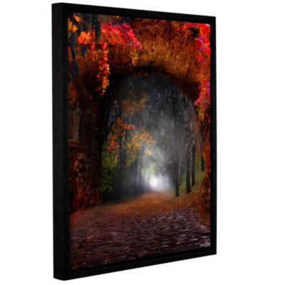 Brushstone Autumn Road Gallery Wrapped Floater-Framed Canvas Wall Art