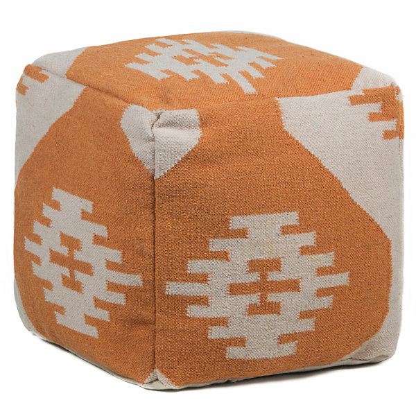 Chandra Aztec Textured Square Wool Pouf Ottoman