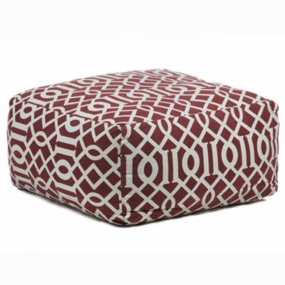 Chandra Textured Square Printed Cotton Pouf Ottoman
