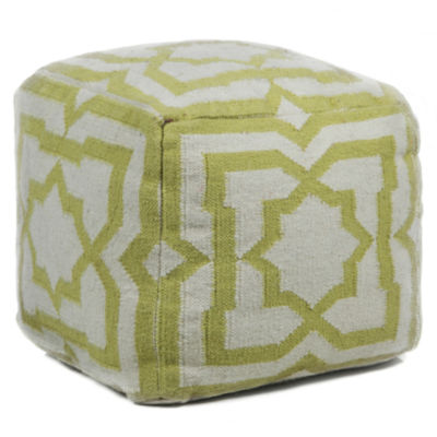 Chandra Medallion Textured Square Wool Pouf Ottoman