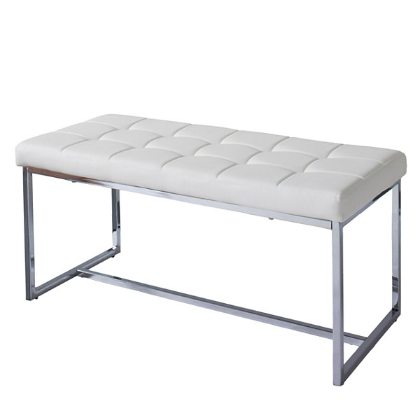 CorLiving Huntington Modern Leatherette Wide Bench with Chrome Base