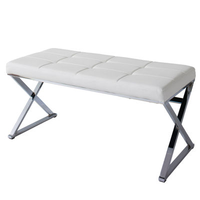 CorLiving Huntington Modern Leatherette Bench with X Shape Chrome Base