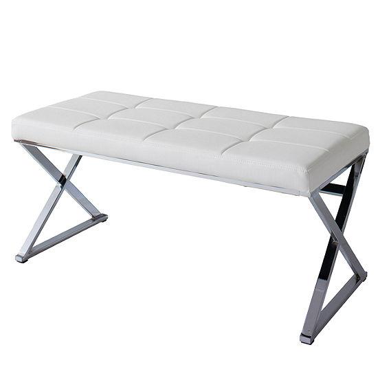 CorLiving Huntington Modern Leatherette Bench with X Shape Chrome Base