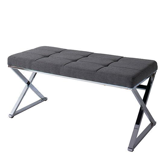 CorLiving Huntington Modern Fabric Bench with X Shape Chrome Base