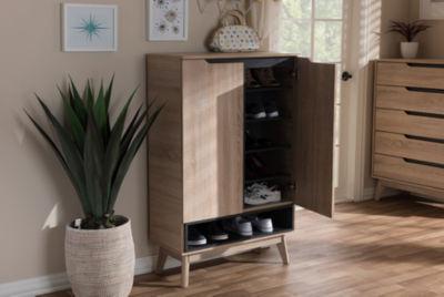 Baxton Studio Fella Mid-Century Modern Wood Accent Cabinet