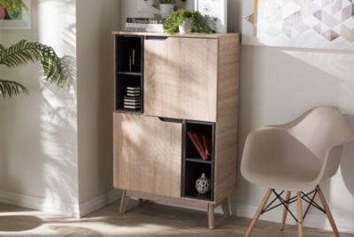 Baxton Studio Fella Mid-Century Modern Wood Storage Accent Cabinet