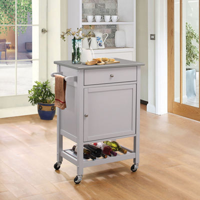 Hoogzen Wood-Top Kitchen Cart