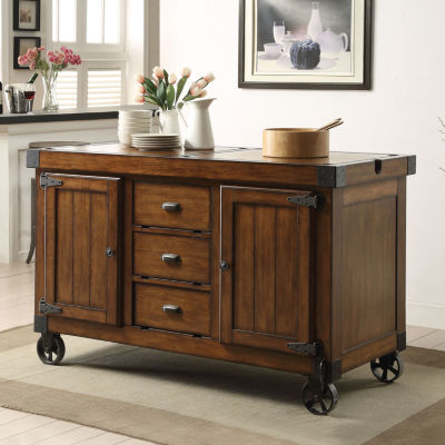 Kabili Wood-Top Kitchen Cart
