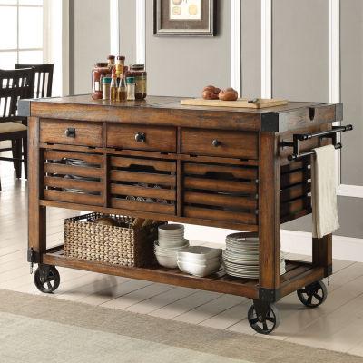 Kaif Wood-Top Kitchen Cart