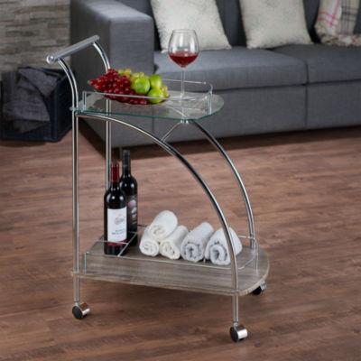 Badin Glass-Top Serving Cart