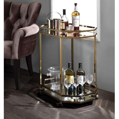Lacole Glass-Top Serving Cart