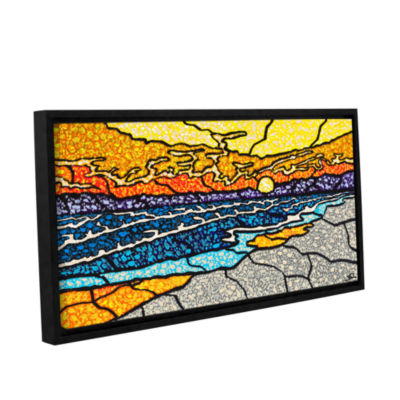 Brushstone Emerald Isle Stained Glass Gallery Wrapped Floater-Framed Canvas Wall Art
