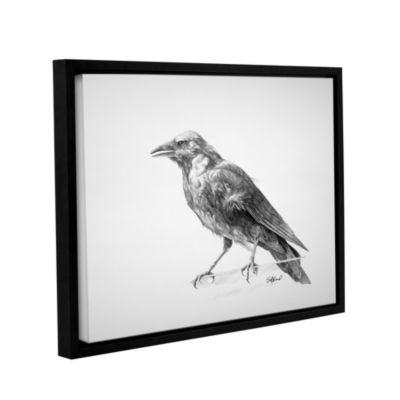 Brushstone Crow Drawing Gallery Wrapped Floater-Framed Canvas Wall Art
