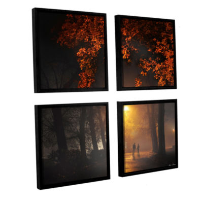 Brushstone Evening Stroll 4-pc. Square Floater Framed Canvas Wall Art