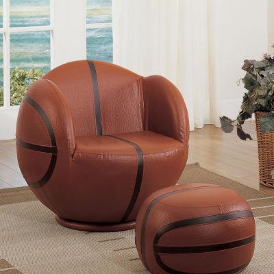 All Star Basketball Swivel Chair + Ottoman Set