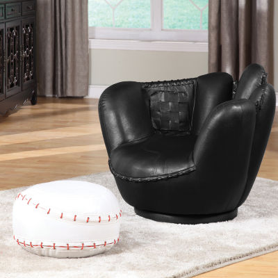 All Star Baseball And Glove Swivel Chair + Ottoman Set
