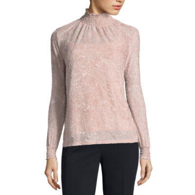 Liz Claiborne Long Sleeve Mock Neck Velvet Blouse