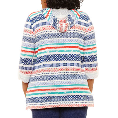 Lark Lane Mix N Mingle Stripe Front Pocket Poncho- Plus