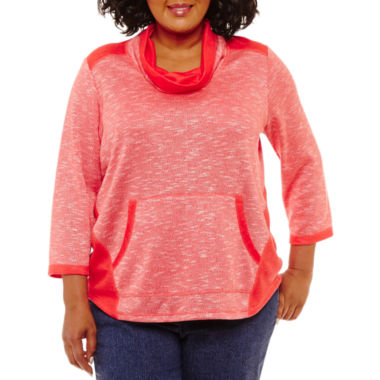 Lark Lane Must Have Cowl-Neck Pocket Pullover- Plus
