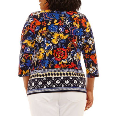 Lark Lane Must Have 3/4 Sleeve Border Tunic- Plus