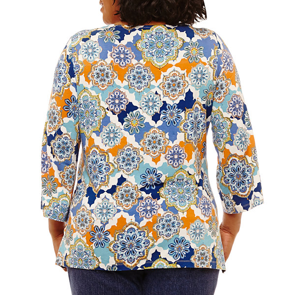 Lark Lane Must Have Bell Sleeve Printed Tunic- Plus