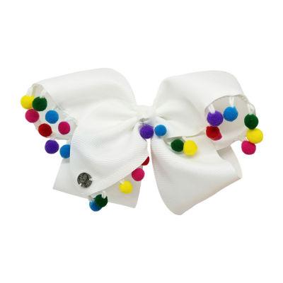 JoJo Siwa Signature Hair Bow White w/Rainbow Poms