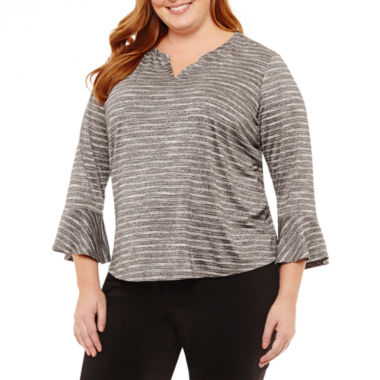 Liz Claiborne 3/4 Sleeve Split Crew Neck Knit Blouse-Plus