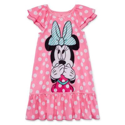 Disney Short Sleeve Minnie Mouse Nightshirt-Toddler Girls
