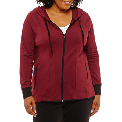Long Sleeve High-Low Full Zip Hoodie-Plus