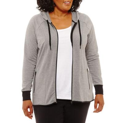 Long Sleeve High-Low Full Zip Hoodie-Plus