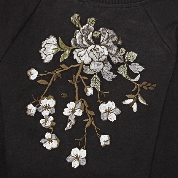a.n.a Long Sleeve Embroidered Sweatshirt-Plus