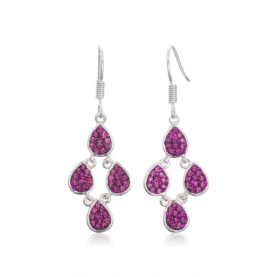 Sparkle Allure Sparkle Allure Purple Silver Over Brass Drop Earrings