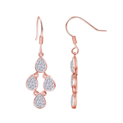 Sparkle Allure Sparkle Allure Clear Silver Over Brass Drop Earrings