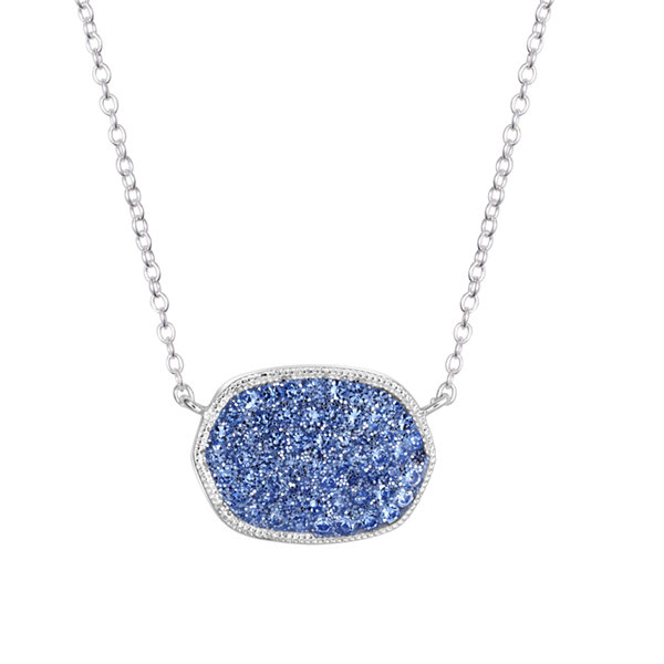 Sparkle Allure Womens Blue Silver Over Brass Pendant Necklace