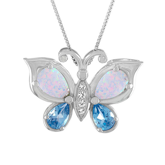 Womens Lab Created Opal And Genuine Blue Topaz Sterling Silver Butterfly Pendant Necklace