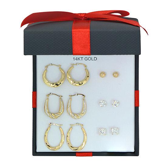 Women's Cubic Zirconia 14K Gold Earring Set