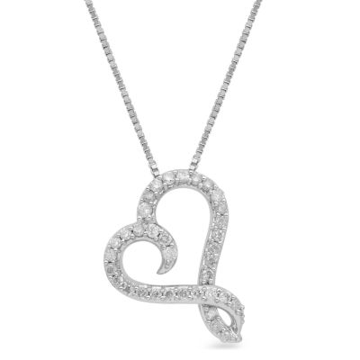 Hallmark Diamonds Womens 1/4 CT. T.W. White Diamond Sterling Silver Pendant Necklace