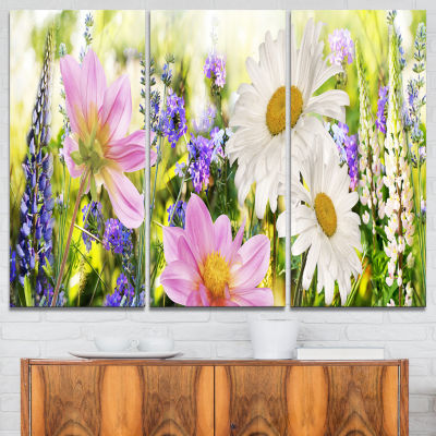 Exotic Multi Color Spiral Flower Abstract Canvas Art Print - 7 Panels