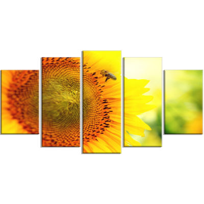 Sunflower Blooming On Field Large Abstract CanvasWall Art - 5 Panels