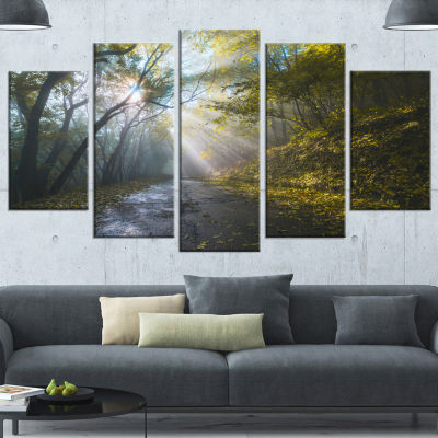 Road In Autumn Forest At Sunset Large Landscape Wrapped Canvas Art Print - 5 Panels