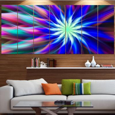 Designart Dance Of Bright Spiral Blue Flower LargeFloral Canvas Art Print - 5 Panels