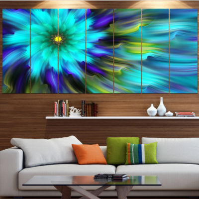 Designart Massive Blue Green Fractal Flower FloralCanvas Art Print - 7 Panels