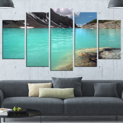 Crystal Clear Mountain Lake Landscape Wrapped Canvas Art Print - 5 Panels