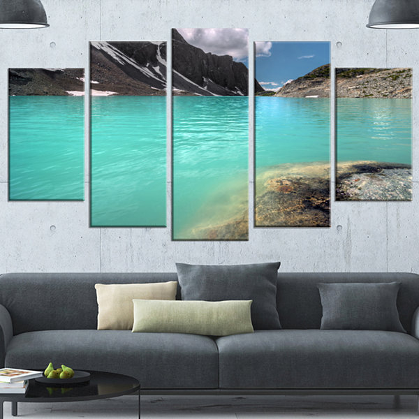 Designart Crystal Clear Mountain Lake Landscape Wrapped Canvas Art Print - 5 Panels