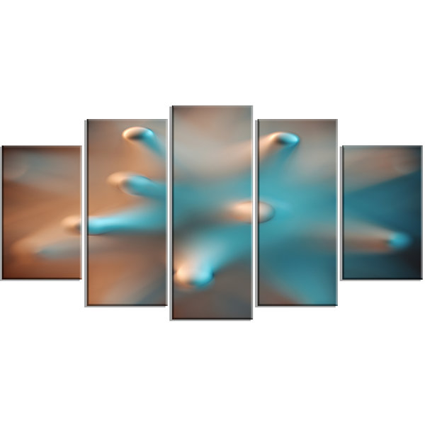 Designart Blue Macro Prickly Texture ContemporaryCanvas Wall Art - 5 Panels